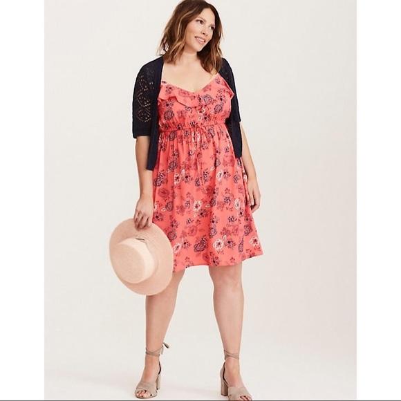 67c97676f7e85 Torrid Floral Print Ruffle Challis Tank Dress. M 5bc649ab9fe48691f9326e0e